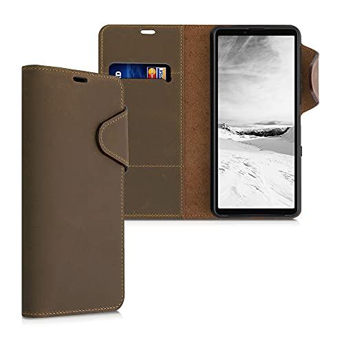 kalibri Hülle kompatibel mit Sony Xperia 10 III - Leder Handyhülle Handy Hülle Cover - Schutzhülle in Braun