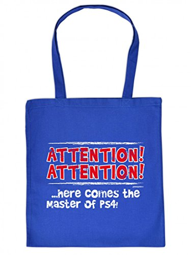 Lustig bedruckte Stofftasche - Attention - Here comes the Master of PS4 - Coole Baumwolltasche Kult Umhängetasche Tragetasche Stoffbeutel