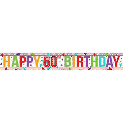 Amscan 9900031 2,7 m Happy 40th Birthday holografische folie banner