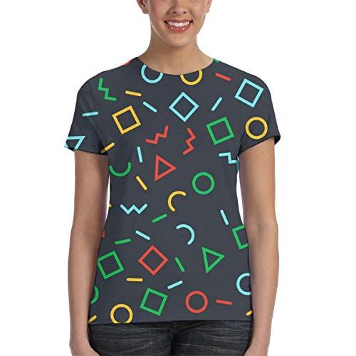 WoodWorths Geometric Shape Patterns Women Short Sleeve T Shirt Tees Colorful Summer(L,Black)