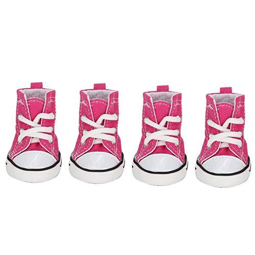 Denim Canvas Hondenschoenen 4 Stuks Roze Casual Stijl Anti-Slip Puppy Sportschoenen Ademende Sneakers Schoenen Huisdier Booties Pootbeschermers Voor Kleine Hond