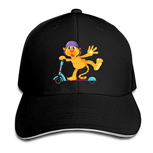 AUDNEDB Tiger On Scooter - Gorra de béisbol para hombre y mujer, diseño clásico, color negro