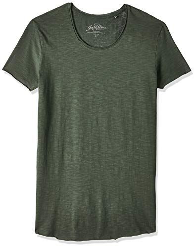 JACK & JONES Herren Jjebas Tee Ss U-Neck Noos T-Shirt, Grün (Thyme Detail: Reg Fit), M