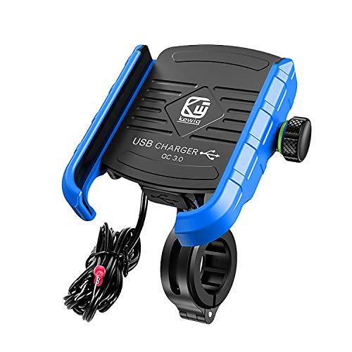 YGL Universale Alluminio Porta Cellulare Motocon con Porta di Ricarica USB, 360 °Regolabile Compatibile da 3,5-6 Pollici Telefono Moto Supporto Smartphone per Scooter Moto Bicicletta(Blu)