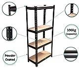 STAR WORK Black Adjustable 4-Shelf Shelving Unit Storage Rack Utility Rack Garage Shelves Display Rack Steel Boltless Rivet Rack 54'(H) x 24'(L) x 12' (D)