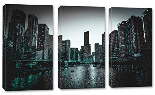 48 x 32 Total - Chicago Skyline in Genoa, Green Blue Canvas Print - 3 Panel Split, Triptych Wall Art