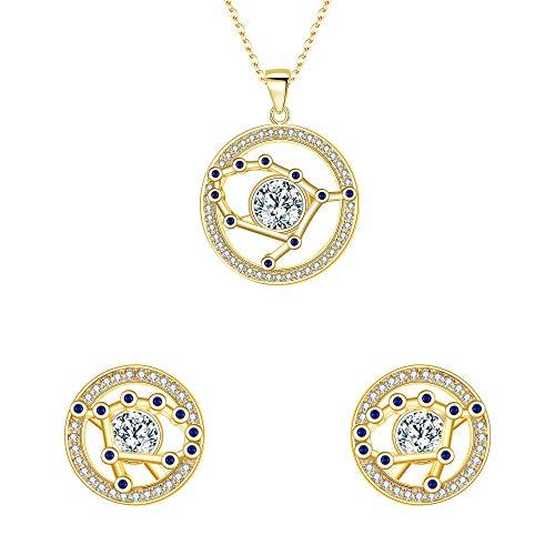FANZE Mujer Plata de Ley 925 CZ Horóscopo Zodiaco 12 Constelación Colgante Collar Pendientes Conjuntos Oro - Geminis