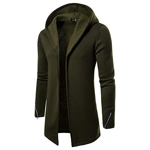 GreatestPAK Herren Männer Casual einfarbig Kapuzen-Reißverschluss Lange Strickjacke Pullover,XL, Grün