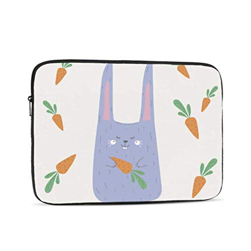 Laptop Sleeve Case 12 Inch Cute Animals Blue Bunny Carrot Laptop Sleeve/Notebook Computer Pocket Case/Tablet Briefcase Carrying Bag