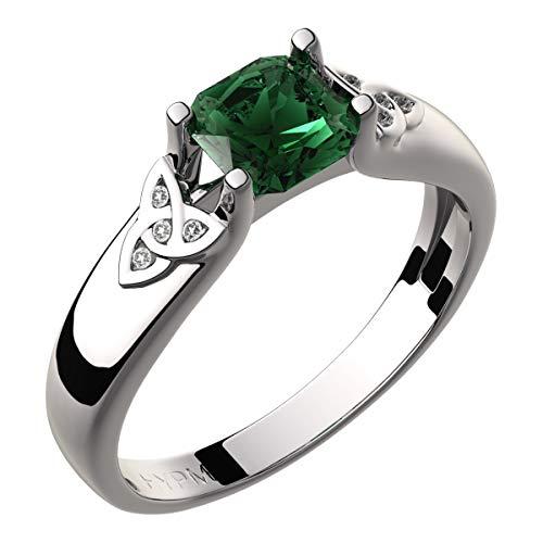 GWG Jewellery Damen Ringe Geschenk Sterlingsilber Keltischer Ring Smaragd-Grüner quadratischer Zirkonstein und Dreifaltigkeitsknoten mit Kristallen verziert – 8 für Frauen