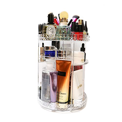 360 Rotating Makeup Organizer, Adjustable Shelf Cosmetic Storage Display Case, Large Capacity Fits Different Types of Cosmetics and Accessories Acrylic Transparent