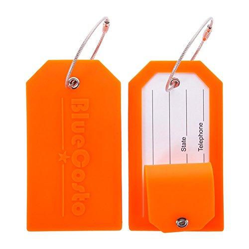 BlueCosto 2X Naranja Etiquetas para Equipaje Etiqueta para Dirección de Maleta Luggage Tags w/Privacidad Cubierta