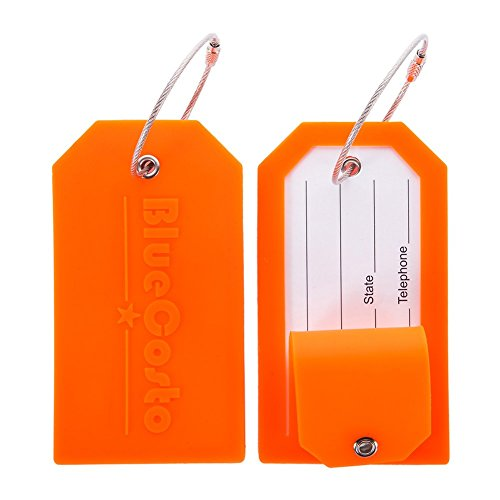 BlueCosto 2X Naranja Etiquetas Equipaje Etiqueta Dirección