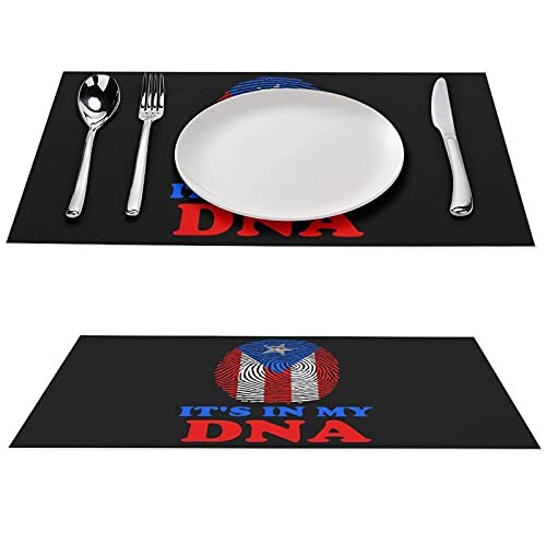 Puerto Rico Flag It's in My DNA Printed Placemat Anti-Skid PVC Table Mats Pad Washable Dining Tablemats Set 12x18 inches