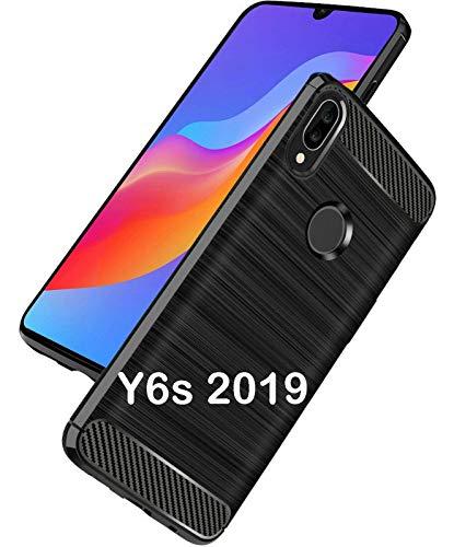 tomaxx Schutzhülle für Huawei Y6s Dual-SIM, Huawei Y6 2019 / Honor 8A Hülle Silikon Tasche Carbon - Schwarz Ultra Schlank Dünn TPU
