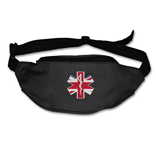 TAOHJS76 Men's and Women's Waist Bag Fit All Phone Models and Fit All Waist Sizes British Flag EMS EMT Best for Running, Workouts, Cycling, Travelling