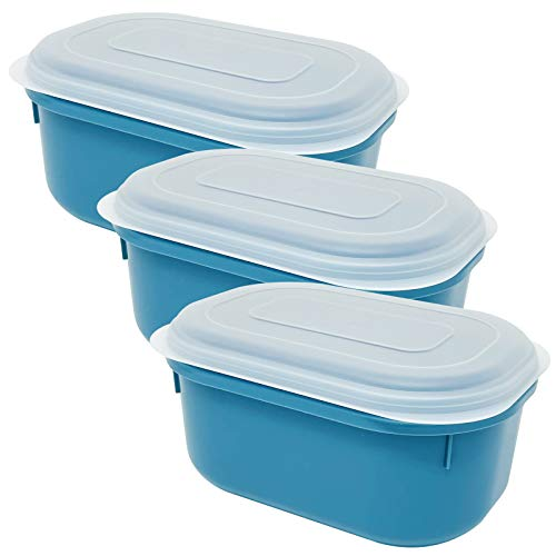 Codil Contenitori di plastica, contenitori ermetici, ovali, per congelare, conservare e mantenere gli alimenti freschi, adatti per forno a microonde e lavastoviglie,3x (blu, 23,5 x 16 x 11,5 cm)