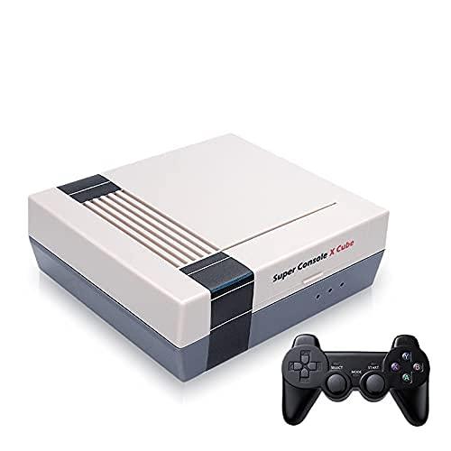 KINMRIS Super Console X Cube Consola de juegos clásica retro con dos joystick inalámbrico incorporado 41000 videojuegos para PSP/PS1/NES/N64/NDS (128G)
