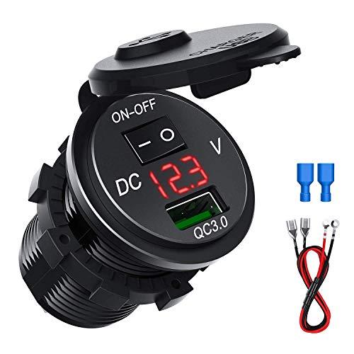 CHGeek USB Auto Steckdose 12V/24V Auto Ladegerät QC3.0 Schnelle Ladung Wasserdichte KFZ Ladegerät mit LED Digital Voltmeter für Motorrad, LKW und Mehr