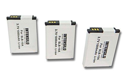 INTENSILO 3x Batteria Li-Ion 1000mAh (3.7V) per Fotocamera Videocamera HP Action Cam AC-200, AC-200W, AC-300W sostituisce AT-S60, FJ-SLB-10a.