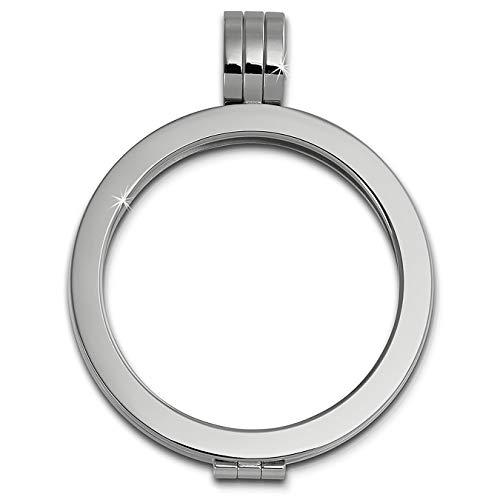 Amello Coin Edelstahl-Kettenanhänger silber - Edelstahlanhänger - Coinsfassung für Damen - Edelstahlschmuck Stainless Steel ESC001J