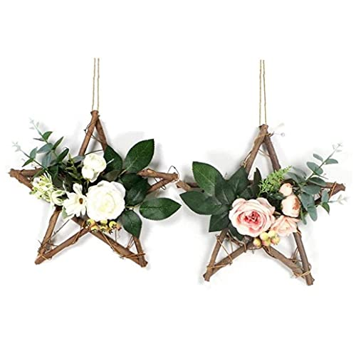 Wall Hanging Decoration Artificial Flower with Star Shaped Floral Hoop Eucalyptus Garland Wreath for Wedding Wall Backdrop Party Door Decor 2pcs