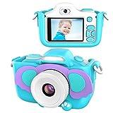 kriogor macchina fotografica bambini, fotocamera digitale selfie per bambini con dual lens/ 16 megapixel/ 1080p videocamera/ lcd da 2 pollici/ scheda tf da 256m(blu)