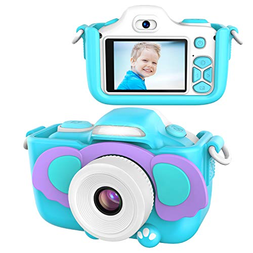 Kriogor Kamera für Kinder, Digital Fotokamera Selfie und Videokamera mit 12 Megapixel/ Dual Lens/ 2 Inch Bildschirm/ 1080P HD/ 256M TF Karte, Geburtstagsgeschenk für Jungen Mädchen (Blau)