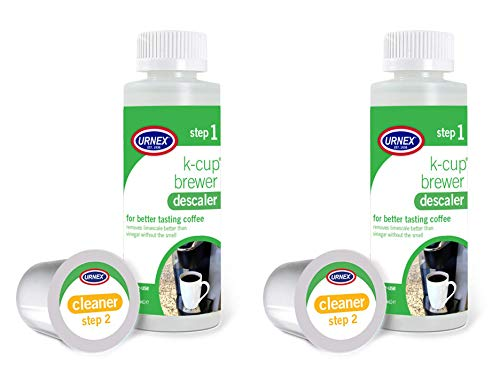 Urnex K-Cup Machine Descaling Solution and Cleaner Kit - 2 Pack - Professional Coffee Machine Cleaner and Descaler for Keurig