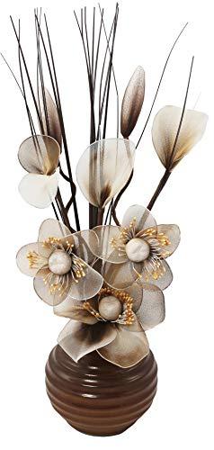 Flourish Kunstblumen im Topf Dekoration Wohnung Modern Deko Wohnzimmer, Geschenk, 32cm Klein, Braun Crème