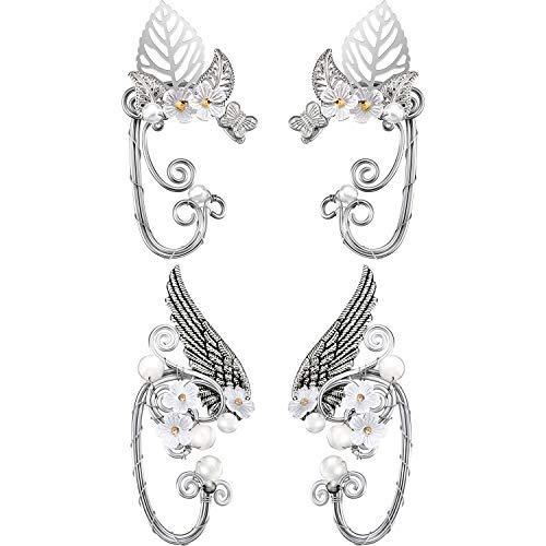 2 Paar Schicke Elf Ohr Manschetten Perle Flügel Handwerk für Cosplay Elven Manschette Wrap Ohrringe für Elven Halloween Kostüm, Cosplay, Hochzeit