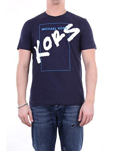 Michael Kors CF95HUMFV4 - Camiseta de manga corta para hombre azul oscuro S