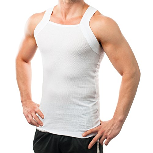 Different Touch Men's G-unit Style Tank Tops Square Cut Muscle Rib A-Shirts - X-Large - White, Pack of 2