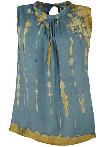 Guru-Shop Batik Boho Blusentop, Damen, Blaugrau, Synthetisch, Size:S/M (36), Blusen & Tunikas Alternative Bekleidung