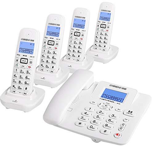 NanXi Teléfono, teléfono inalámbrico Digital, teléfono Fijo inalámbrico Inteligente Fijo,Blanco,4niños