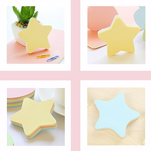 PRALB 20PACK Rainbow Star-Shaped Self Sticky Notes Self-Adhesive Sticky Note Cute Notepads 100 Sheets Per Pad.(20 Pack/Box, Star) Sticky Notes,Sticky Note Star,Cute Sticky Notes,Sticky Notepad,Star Photo #2