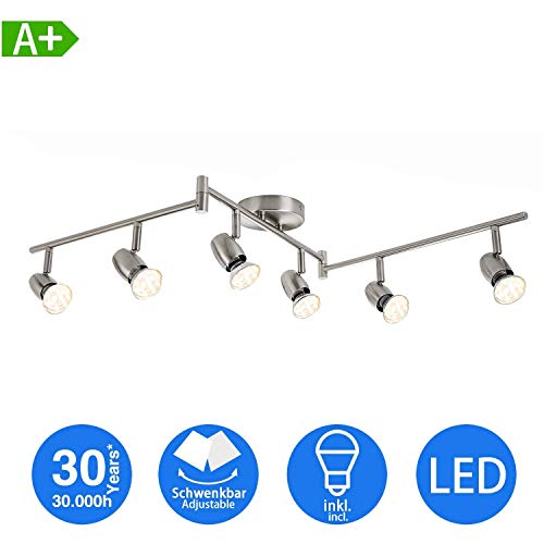 LED Deckenleuchte Schwenkbar inkl. 6-flammig Drehbar und 3W GU10 230V IP20 metall Warmweiß, LED Deckenspot für Küche Wohnzimmer Schlafzimmer [Energieklasse A+]