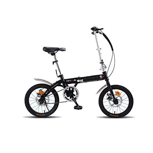 """YEDENGPAO Folding Bike-Leggero Telaio in Alluminio Genuine 7-Speed, Bicicletta Pieghevole con Parafanghi, 16\"""" in Fibra di Carbonio Folding Bike, Bicicletta Pieghevole,Nero"""