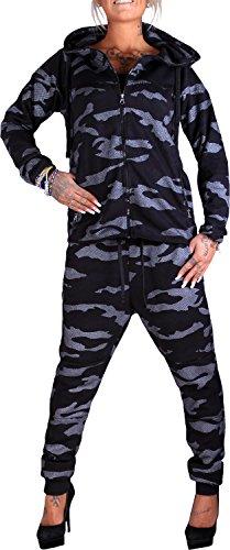 Damen Jogging-Anzug | Camo Nke 658 (S- fällt größer aus, Schwarz)