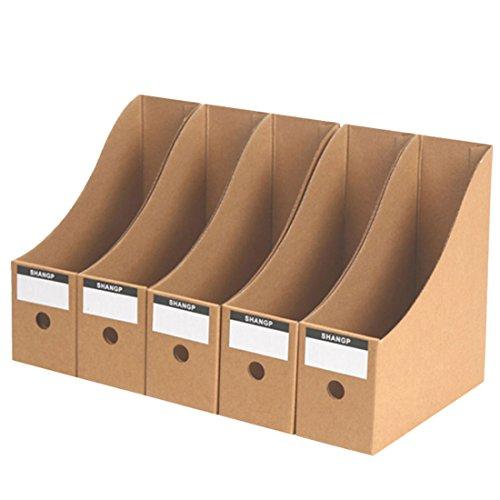 15000P 5 Stück Stehsammler Pappe Dokumente Aufbewahrungsbox Zeitschriftensammler Büro Desktop Organizer für Bücher Dokumente
