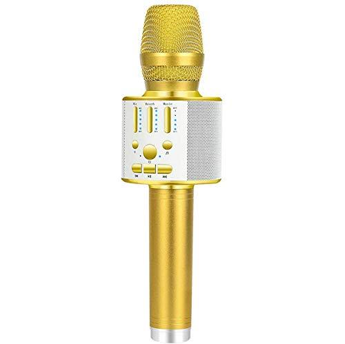 Bluetooth karaokemicrofoon, draagbare draadloze handmicrofoon met dynamisch licht voor kinderen en volwassenen, met luidsprekeropnameradio, voor cadeau/spraak/KTV/party, voor Android/iOS, pc