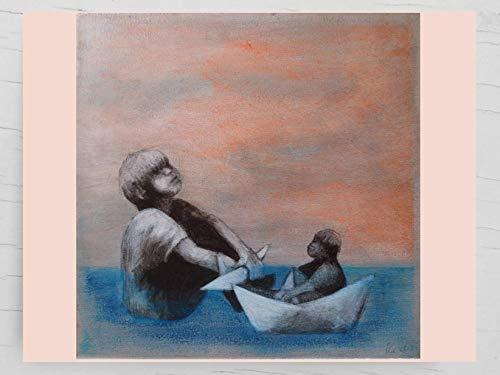 Papierschiffchen blauen Meer: Maritime Glückwunschkarte für Kapitäne und große Weltenbummler