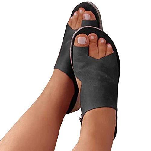 SOFIALXC Sandalias de Plataforma cómodas para Mujer Zapatos de Cuero de PU Sandalia de corrección de pie con Dedo Gordo Suave y Corrector ortopédico para juanetes Zapatos de Viaje de Playa de Verano,