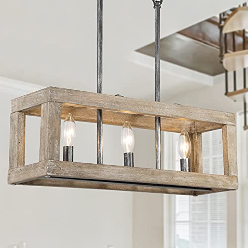 Farmhouse Chandelier for Dining Room, 3-Light Wood Rectangle Chandeliers, 21'' L Rustic Kitchen Island Lighting