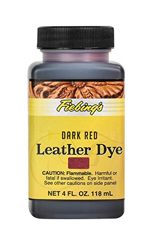 Fiebing's Leather Dye - Alcohol Based Permanent Leather Dye - 4 oz - Dark Red