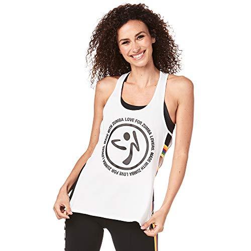 Zumba Kompression Open Side Fitness Damen Tanktops Sexy Atmungsaktives Training Tank Top, Wear It Out White, S