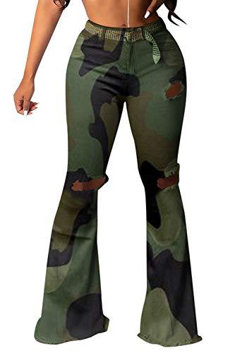 Jumojufol Mujer Pantalones Camuflaje Pantalones Campana Rasgados Pantalones Elásticos Camo S