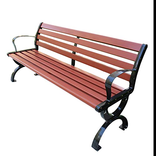 Outdoor garden bench metal bench, Weather-resistant anticorrosive wood and aluminum alloy frame park bench, Community lawn lounge benches with backrests and armrests, 2-3 seater balcony bench