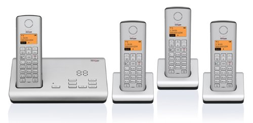 verizon cordless phones Verizon 100AM-4 DECT 6.0 Four Handset Cordless Phone System with Digital Answering Device and Caller ID (Silver)