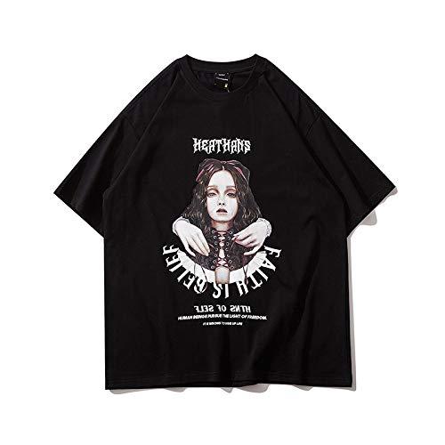 DREAMING-Camiseta de Manga Corta con Estampado Suelto, Cuello Redondo, Camiseta de algodón, Tops para Hombres y Mujeres, Camisas de Pareja, Camisa de Fondo versátil de Verano XL